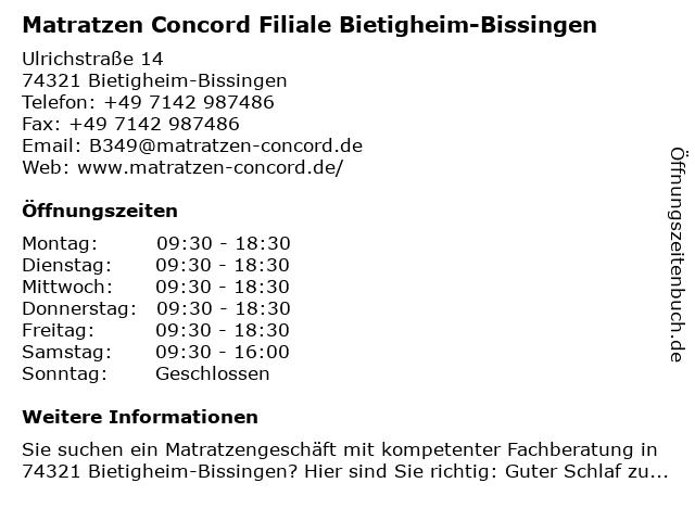 Matratzen Concord in Bietigheim-Bissingen: Adresse und Öffnungszeiten
