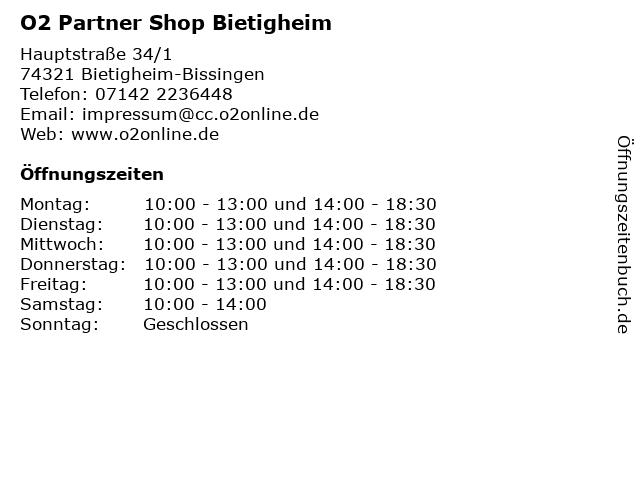 O2 Partner Shop Bietigheim in Bietigheim-Bissingen: Adresse und Öffnungszeiten