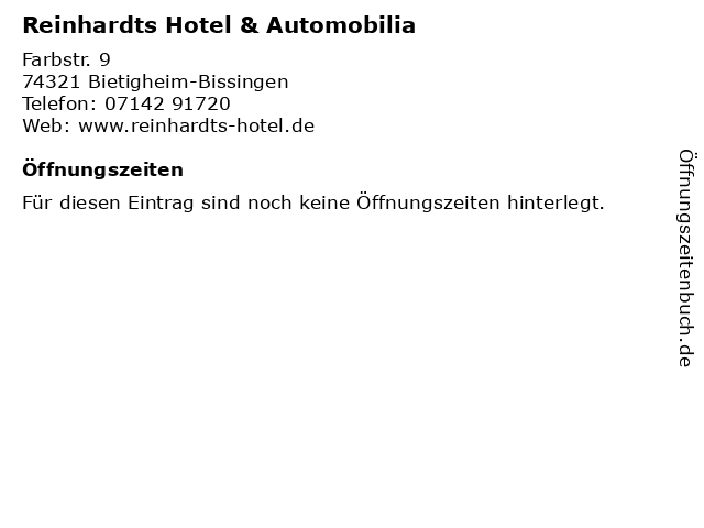 Reinhardts Hotel & Automobilia in Bietigheim-Bissingen: Adresse und Öffnungszeiten