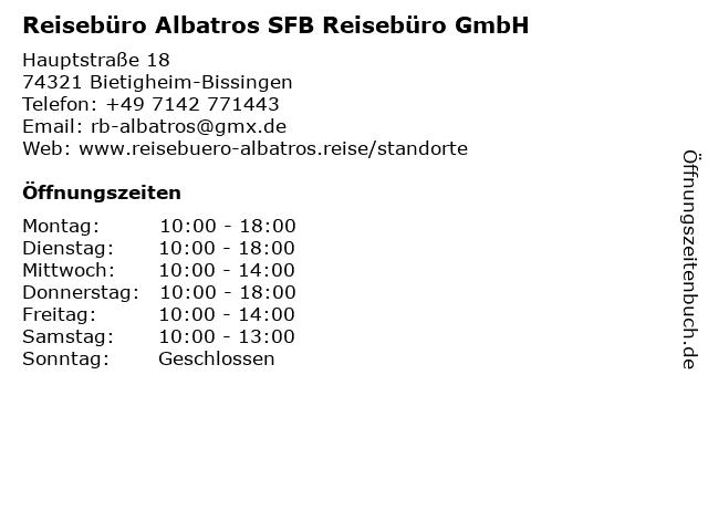 Reisebüro Albatros SFB Reisebüro GmbH in Bietigheim-Bissingen: Adresse und Öffnungszeiten