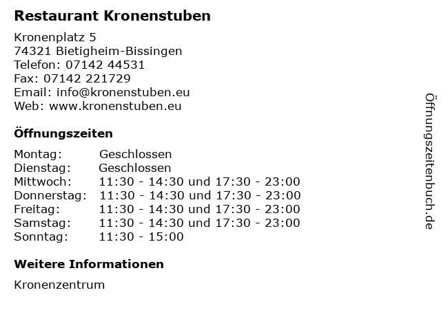 Restaurant Kronenstuben in Bietigheim-Bissingen: Adresse und Öffnungszeiten