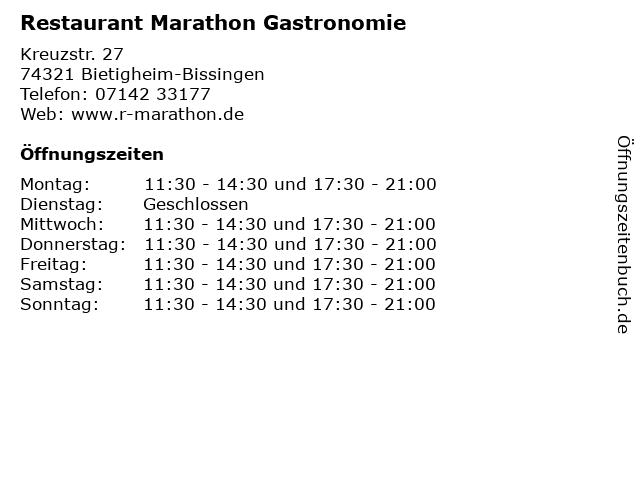 Restaurant Marathon Gastronomie in Bietigheim-Bissingen: Adresse und Öffnungszeiten