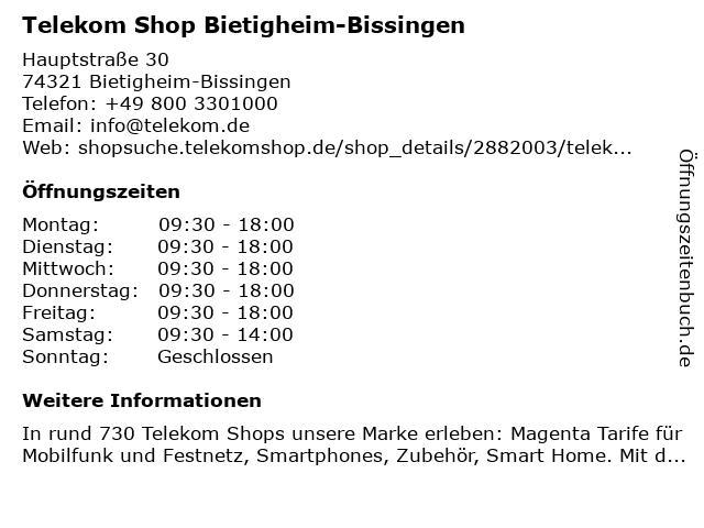 Telekom Shop Bietigheim-Bissingen in Bietigheim-Bissingen: Adresse und Öffnungszeiten