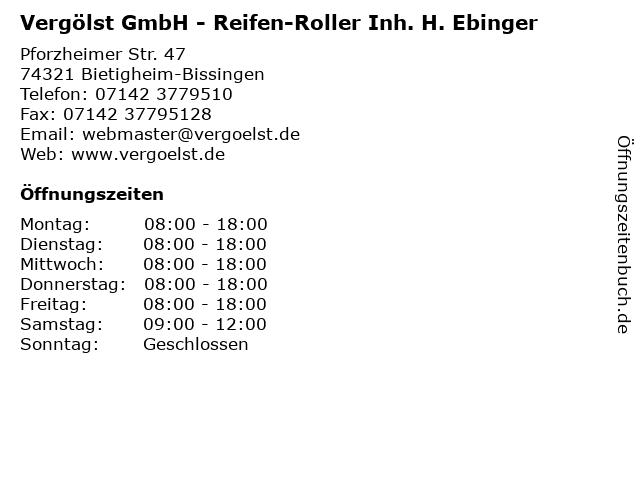 Vergölst GmbH - Reifen-Roller Inh. H. Ebinger in Bietigheim-Bissingen: Adresse und Öffnungszeiten