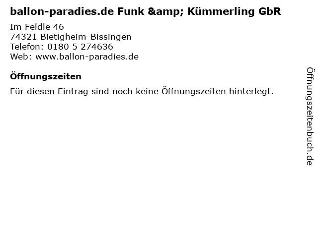 ballon-paradies.de Funk & Kümmerling GbR in Bietigheim-Bissingen: Adresse und Öffnungszeiten