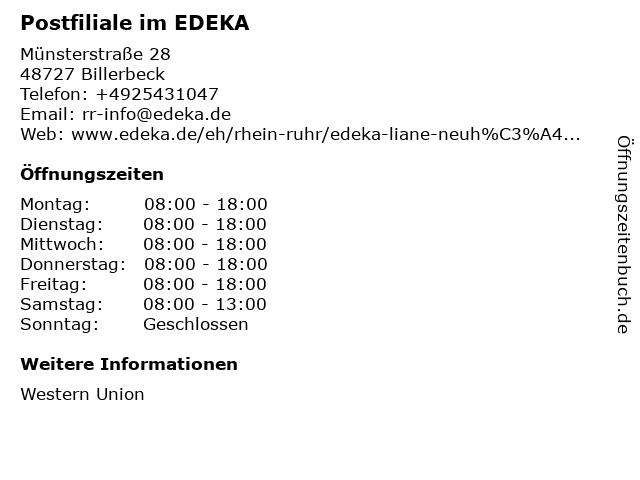 Postfiliale im EDEKA in Billerbeck: Adresse und Öffnungszeiten