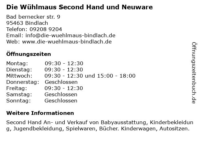 Die Wühlmaus in Bindlach: Adresse und Öffnungszeiten
