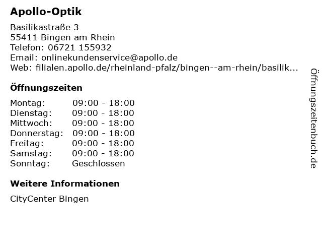 Apollo-Optik Holding GmbH & Co. KG in Bingen am Rhein: Adresse und Öffnungszeiten