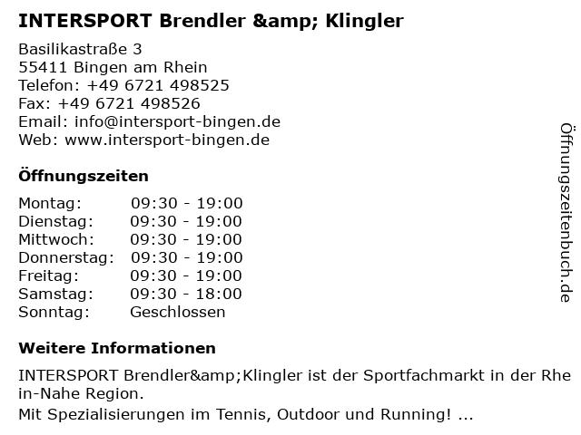 Brendler & Klingler Sport GmbH in Bingen am Rhein: Adresse und Öffnungszeiten
