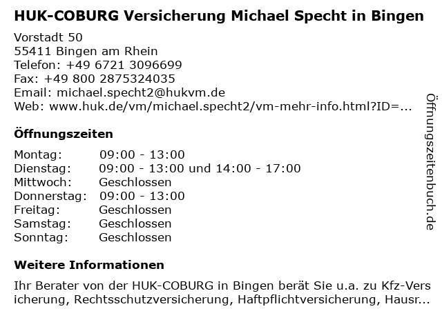 ᐅ öffnungszeiten Huk Coburg Versicherung Michael Specht In Bingen