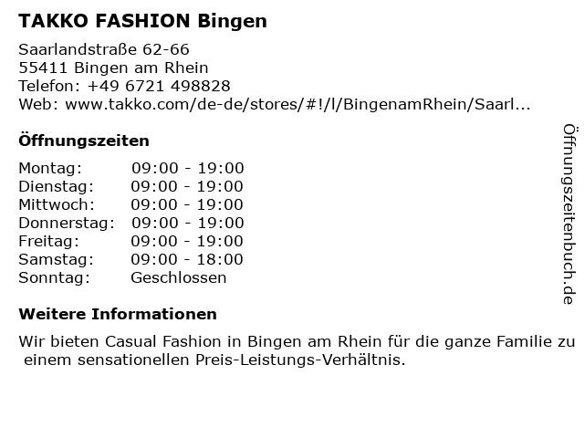 Takko Fashion in Bingen - Büdesheim: Adresse und Öffnungszeiten