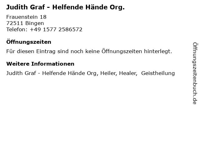 Judith Graf - Helfende Hände Org. in Bingen: Adresse und Öffnungszeiten