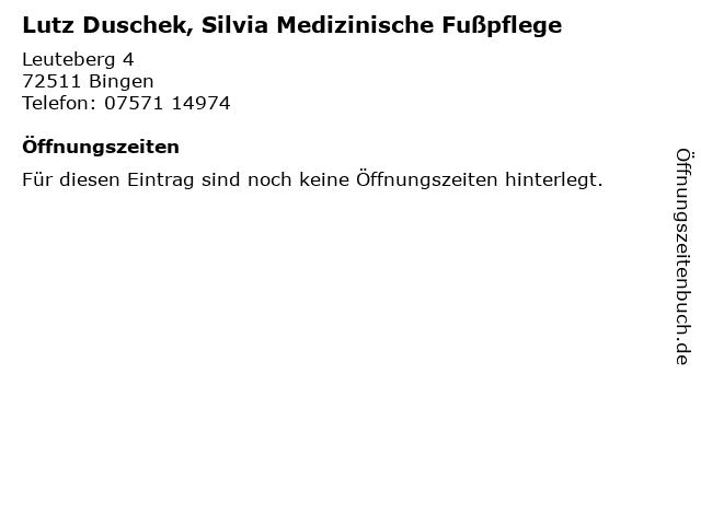 Lutz Duschek, Silvia Medizinische Fußpflege in Bingen: Adresse und Öffnungszeiten