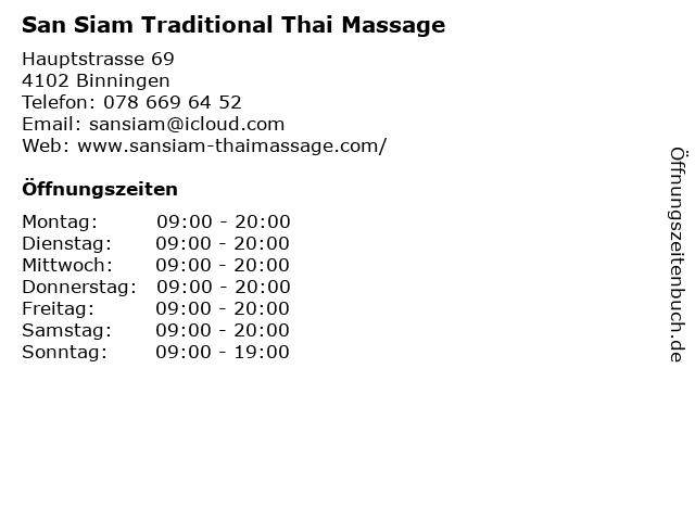 San Siam Traditional Thai Massage in Binningen: Adresse und Öffnungszeiten