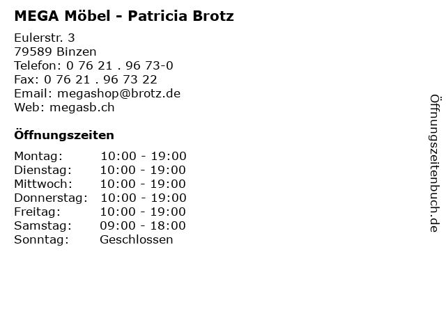 ᐅ öffnungszeiten Mega Möbel Patricia Brotz Eulerstr 3 In Binzen