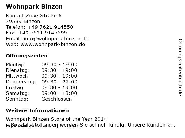 ᐅ öffnungszeiten Wohnpark Binzen Konrad Zuse Straße 6 In Binzen