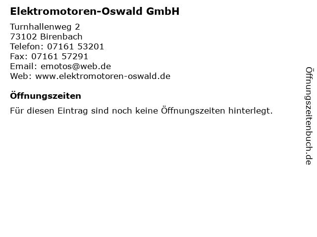 Elektromotoren-Oswald GmbH in Birenbach: Adresse und Öffnungszeiten