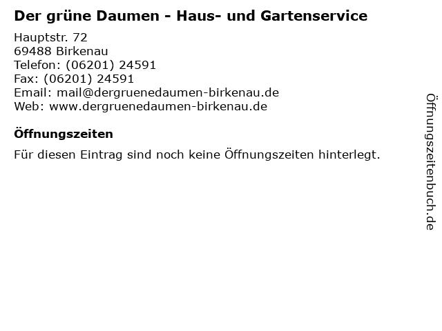Der grüne Daumen - Haus- und Gartenservice in Birkenau: Adresse und Öffnungszeiten