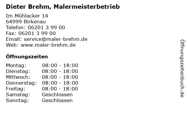 Dieter Brehm, Malermeisterbetrieb in Birkenau: Adresse und Öffnungszeiten