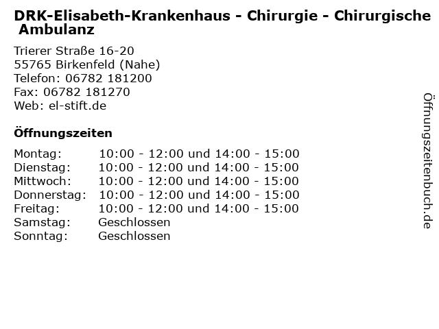 DRK-Elisabeth-Krankenhaus - Chirurgie - Chirurgische Ambulanz in Birkenfeld (Nahe): Adresse und Öffnungszeiten
