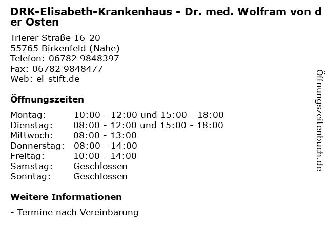 DRK-Elisabeth-Krankenhaus - Dr. med. Wolfram von der Osten in Birkenfeld (Nahe): Adresse und Öffnungszeiten