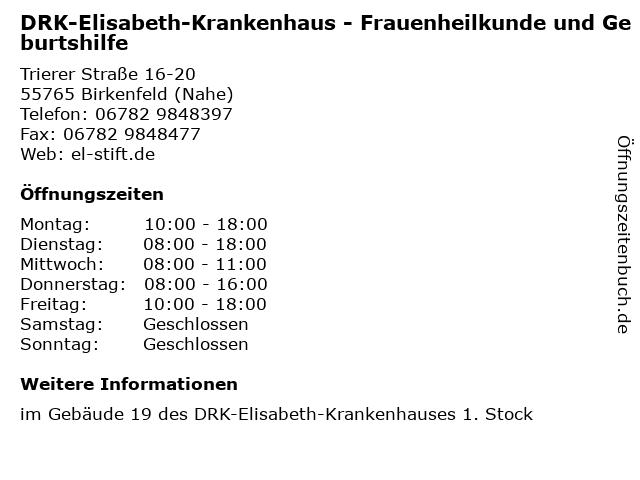 DRK-Elisabeth-Krankenhaus - Frauenheilkunde und Geburtshilfe in Birkenfeld (Nahe): Adresse und Öffnungszeiten