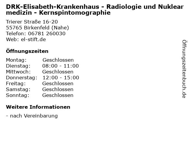 DRK-Elisabeth-Krankenhaus - Radiologie und Nuklearmedizin - Kernspintomographie in Birkenfeld (Nahe): Adresse und Öffnungszeiten