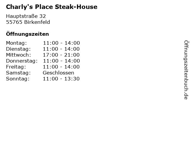 Charly's Place Steak-House in Birkenfeld: Adresse und Öffnungszeiten