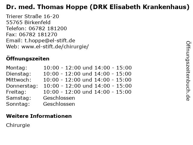 Dr. med. Thomas Hoppe (DRK Elisabeth Krankenhaus) in Birkenfeld: Adresse und Öffnungszeiten