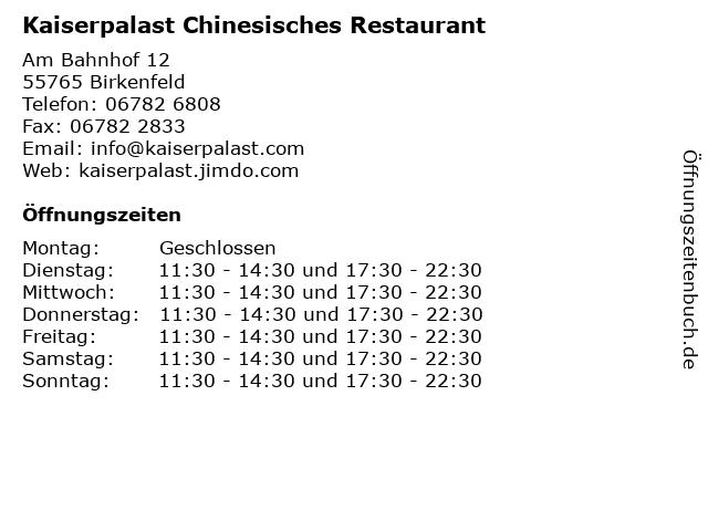 Kaiserpalast Chinesisches Restaurant in Birkenfeld: Adresse und Öffnungszeiten