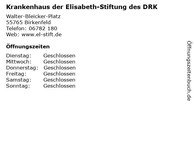 Krankenhaus der Elisabeth-Stiftung des DRK in Birkenfeld: Adresse und Öffnungszeiten