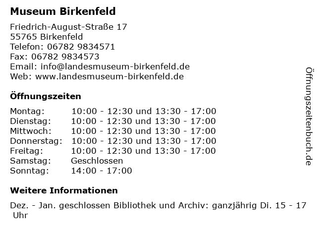 Museum Birkenfeld in Birkenfeld: Adresse und Öffnungszeiten