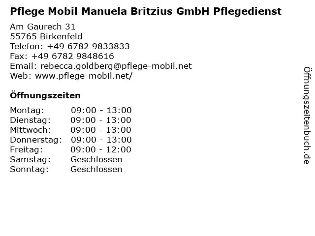 Pflege Mobil Manuela Britzius GmbH in Birkenfeld: Adresse und Öffnungszeiten