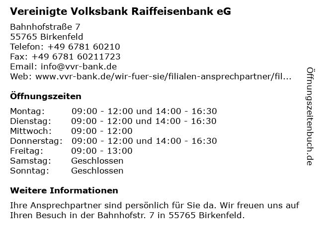 Volksbank Hunsrück-Nahe eG (Geldautomat) in Birkenfeld: Adresse und Öffnungszeiten