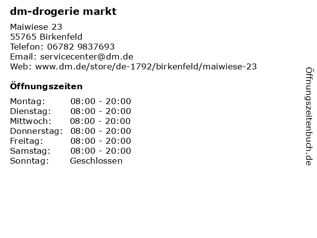 dm-drogerie markt in Birkenfeld: Adresse und Öffnungszeiten