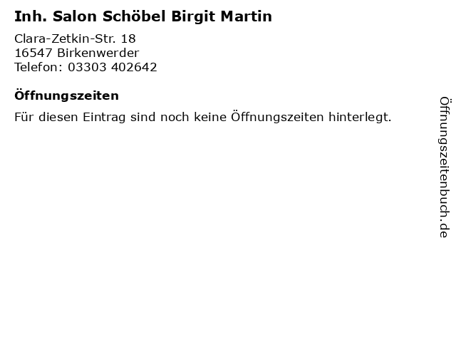 Inh. Salon Schöbel Birgit Martin in Birkenwerder: Adresse und Öffnungszeiten