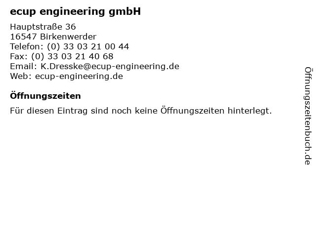 ecup engineering gmbH in Birkenwerder: Adresse und Öffnungszeiten