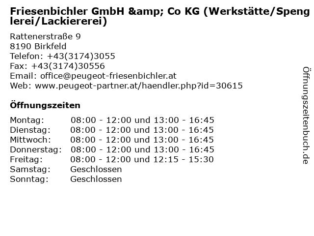 Friesenbichler GmbH & Co KG (Werkstätte/Spenglerei/Lackiererei) in Birkfeld: Adresse und Öffnungszeiten