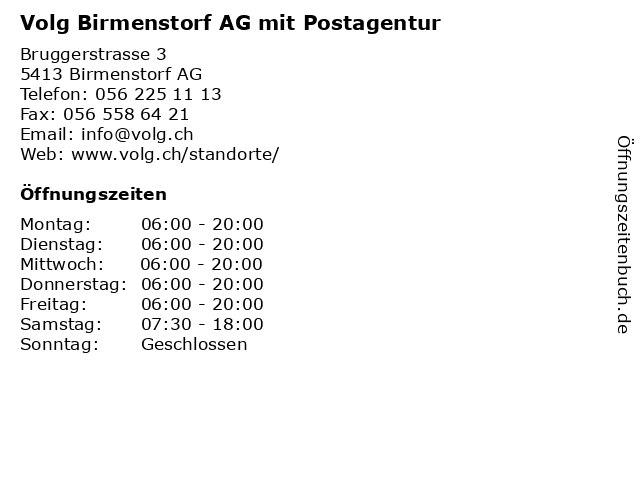 Volg Birmenstorf AG mit Postagentur in Birmenstorf AG: Adresse und Öffnungszeiten
