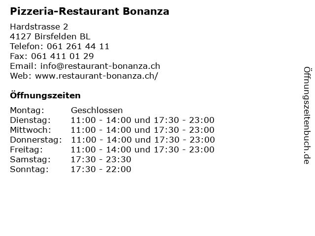 Pizzeria-Restaurant Bonanza in Birsfelden BL: Adresse und Öffnungszeiten