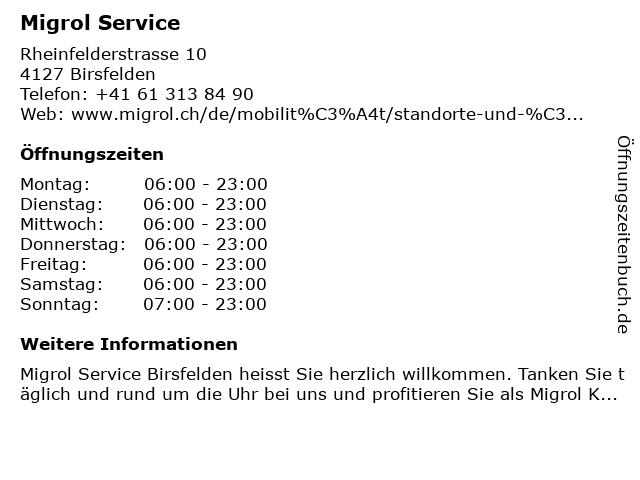 Migrol Service in Birsfelden: Adresse und Öffnungszeiten