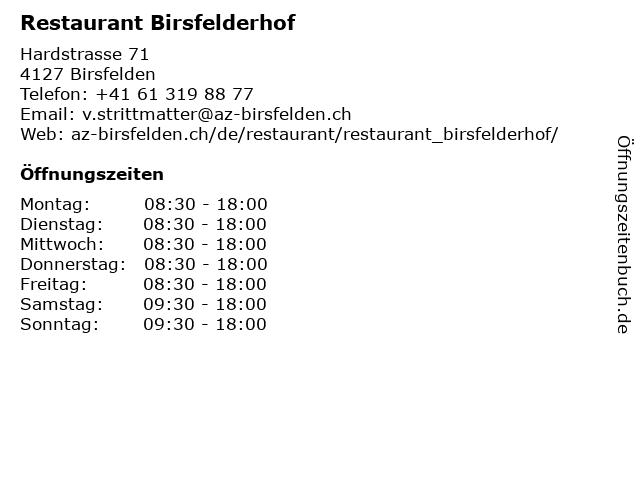 Restaurant Birsfelderhof in Birsfelden: Adresse und Öffnungszeiten