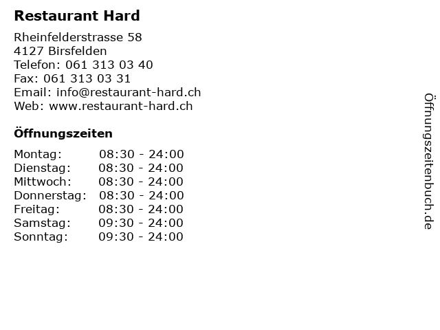 Restaurant Hard in Birsfelden: Adresse und Öffnungszeiten