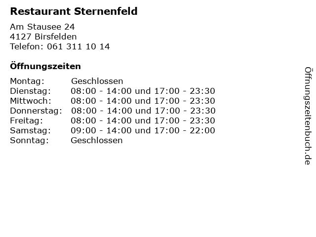 Restaurant Sternenfeld in Birsfelden: Adresse und Öffnungszeiten
