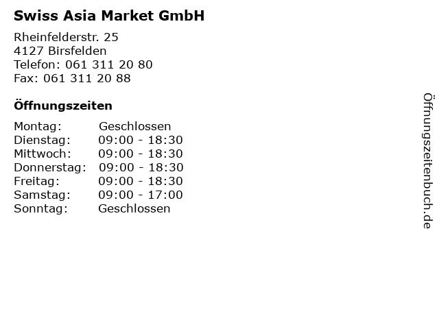 Swiss Asia Market GmbH in Birsfelden: Adresse und Öffnungszeiten