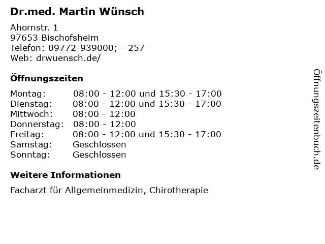 Dr.med. Martin Wünsch in Bischofsheim: Adresse und Öffnungszeiten