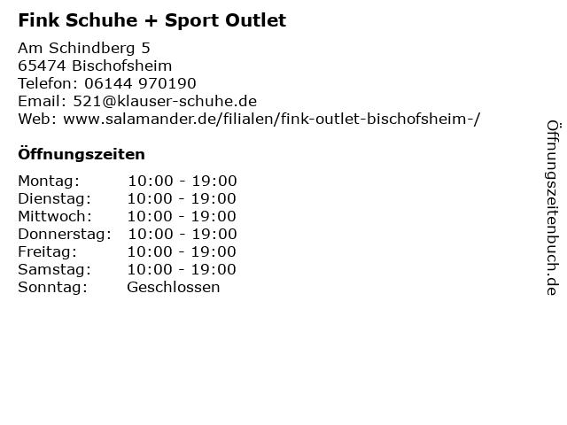 Fink Schuhe + Sport Outlet in Bischofsheim: Adresse und Öffnungszeiten