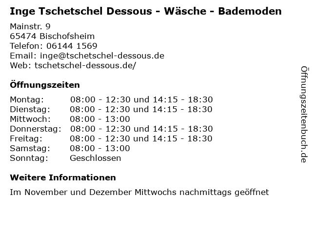 Inge Tschetschel Dessous - Wäsche - Bademoden in Bischofsheim: Adresse und Öffnungszeiten
