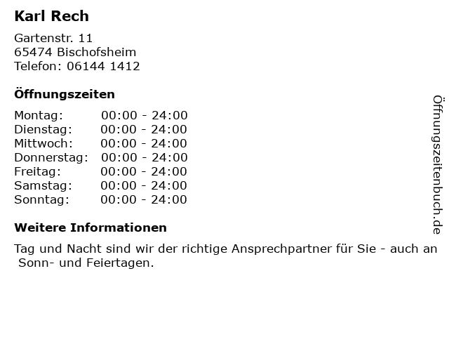 Karl Rech in Bischofsheim: Adresse und Öffnungszeiten