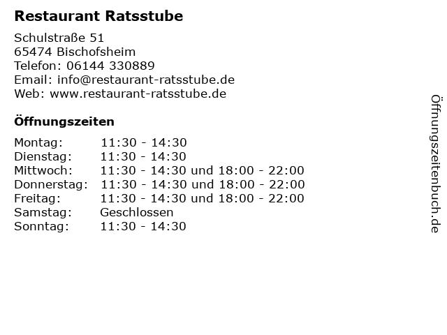 Restaurant Ratsstube in Bischofsheim: Adresse und Öffnungszeiten